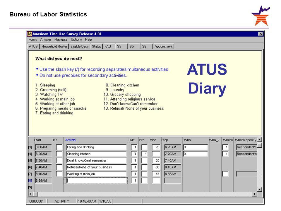 Bureau of Labor Statistics ATUS Diary