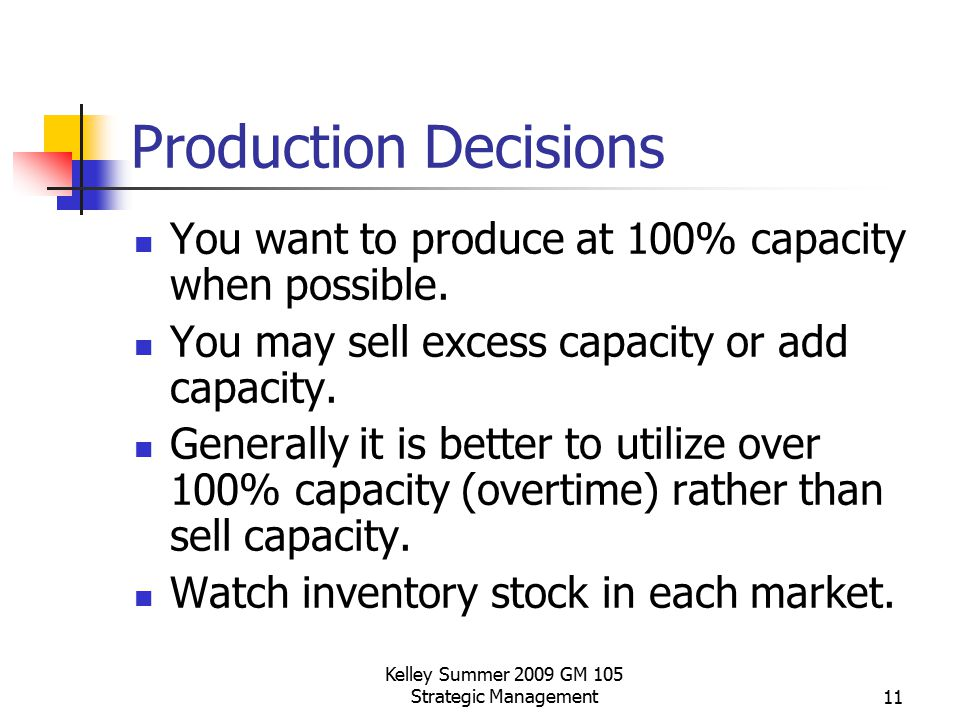 Kelley Summer 2009 GM 105 Strategic Management11 Production Decisions You want to produce at 100% capacity when possible. You may sell excess capacity