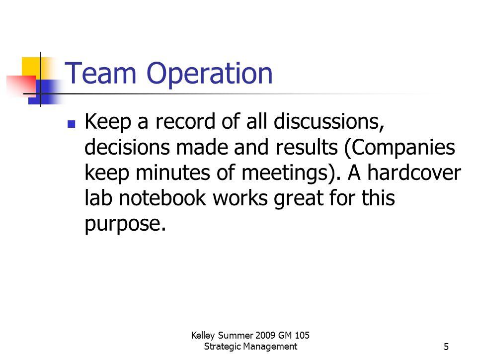 Kelley Summer 2009 GM 105 Strategic Management6 Team Operation Advice – Don't let problems fester.