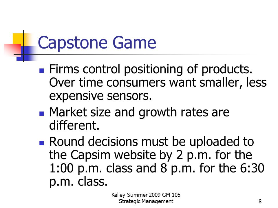 Kelley Summer 2009 GM 105 Strategic Management8 Capstone Game Firms control positioning of products. Over time consumers want smaller, less expensive