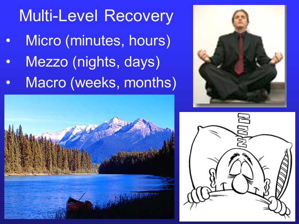 Multi-Level Recovery Micro (minutes, hours) Mezzo (nights, days) Macro (weeks, months)