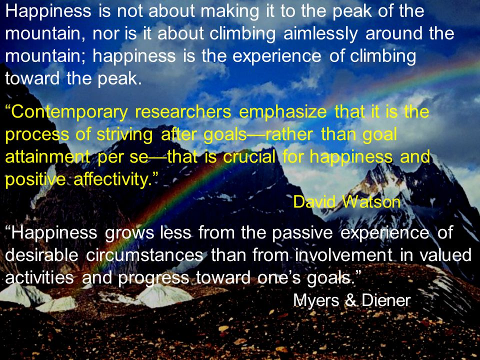 Happiness is not about making it to the peak of the mountain, nor is it about climbing aimlessly around the mountain; happiness is the experience of climbing toward the peak.