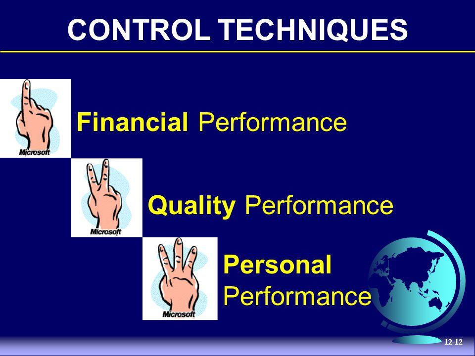 12-12 CONTROL TECHNIQUES Financial Performance Quality Performance Personal Performance