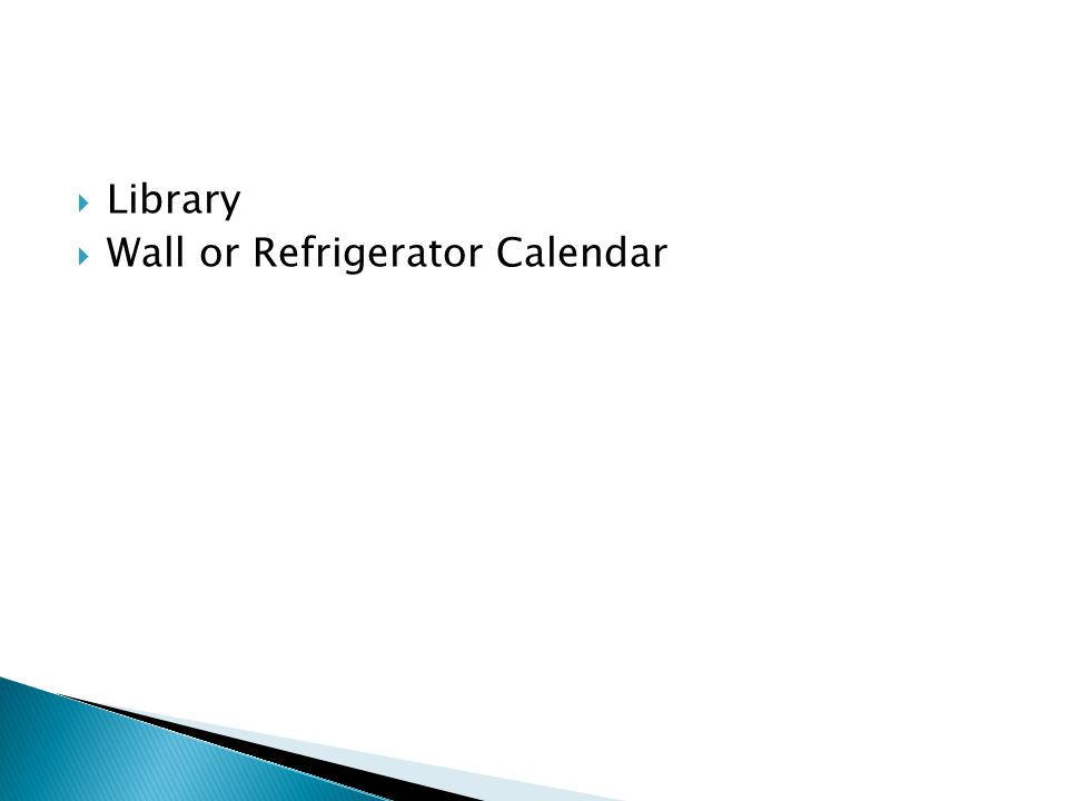  Library  Wall or Refrigerator Calendar