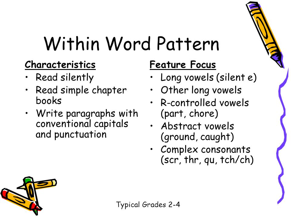 Characteristics Read silently Read simple chapter books Write paragraphs with conventional capitals and punctuation Feature Focus Long vowels (silent e) Other long vowels R-controlled vowels (part, chore) Abstract vowels (ground, caught) Complex consonants (scr, thr, qu, tch/ch) Typical Grades 2-4