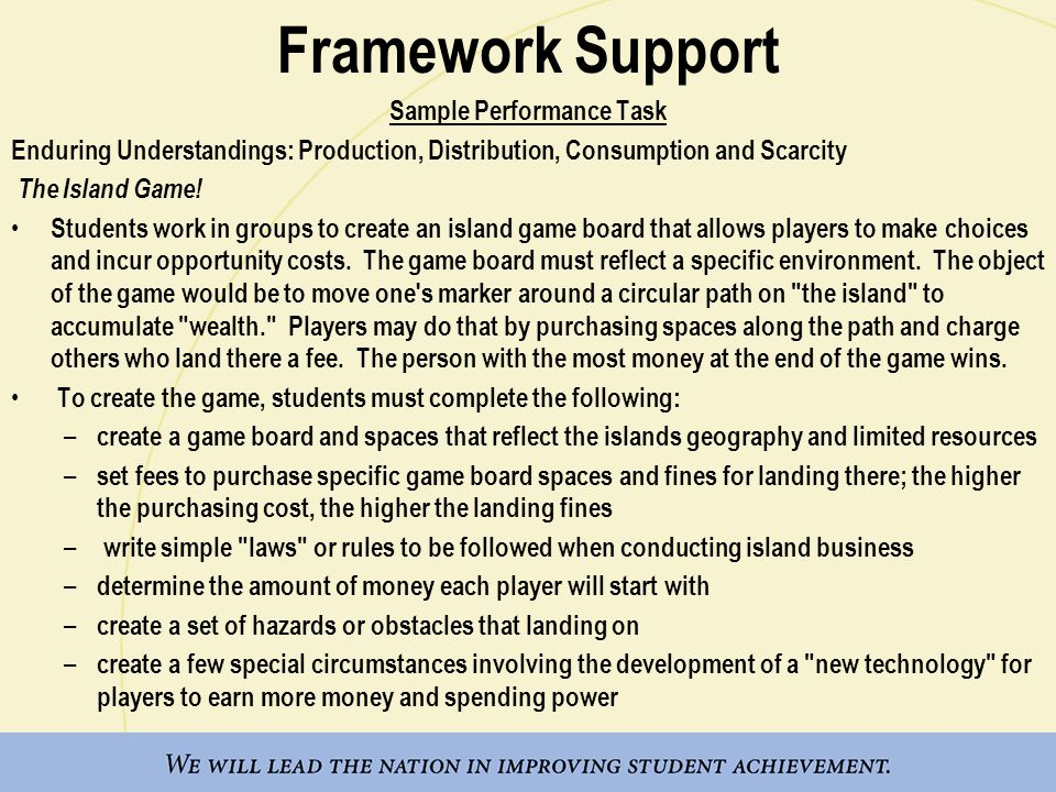 Framework Support Sample Performance Task Enduring Understandings: Production, Distribution, Consumption and Scarcity The Island Game.