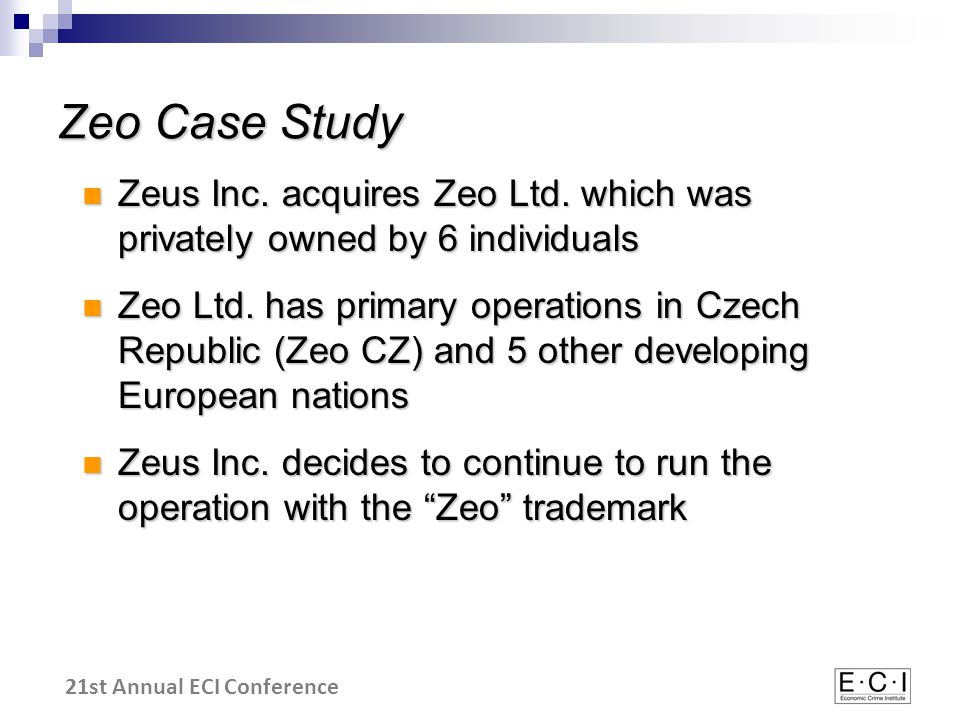 21st Annual ECI Conference Zeo Case Study Zeus Inc.