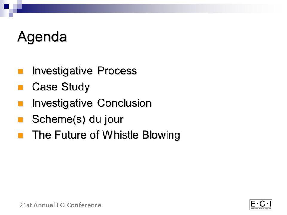 21st Annual ECI Conference Agenda Investigative Process Investigative Process Case Study Case Study Investigative Conclusion Investigative Conclusion Scheme(s) du jour Scheme(s) du jour The Future of Whistle Blowing The Future of Whistle Blowing