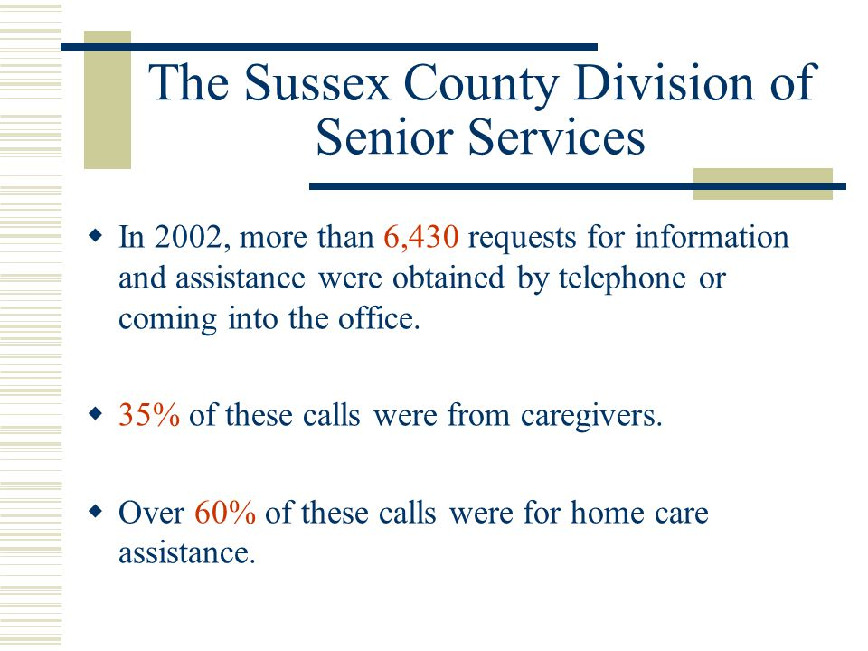 Services offered thru the Sussex County Division of Senior Services  Information & Assistance  Senior Meal Programs  SHIP Counseling  Case Management  Home Care Programs  Housing Information  Long Term Care Options  Prescription Program Assistance