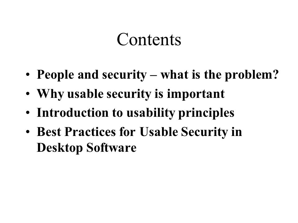 Contents People and security – what is the problem.