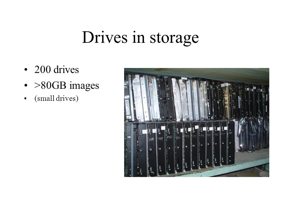 Drives in storage 200 drives >80GB images (small drives)