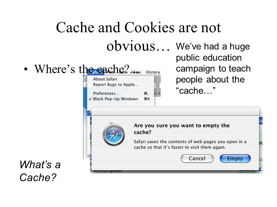 Cache and Cookies are not obvious… What's a Cache.
