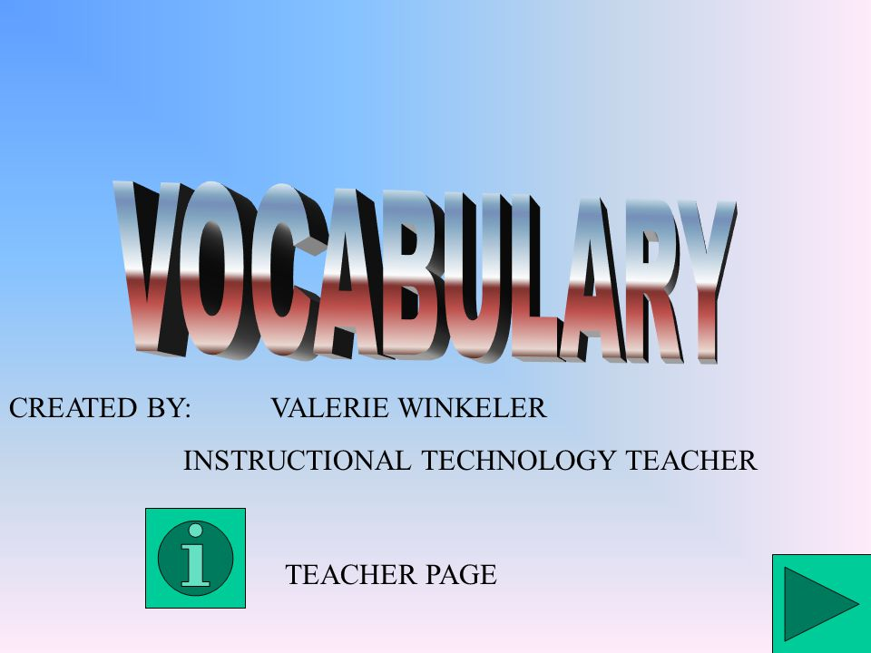 CREATED BY:VALERIE WINKELER INSTRUCTIONAL TECHNOLOGY TEACHER TEACHER PAGE