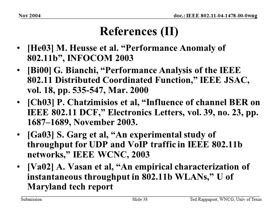 doc.: IEEE 802.11-04-1478-00-0wng Submission Nov 2004 Ted Rappaport, WNCG, Univ of TexasSlide 38 References (II) [He03] M.