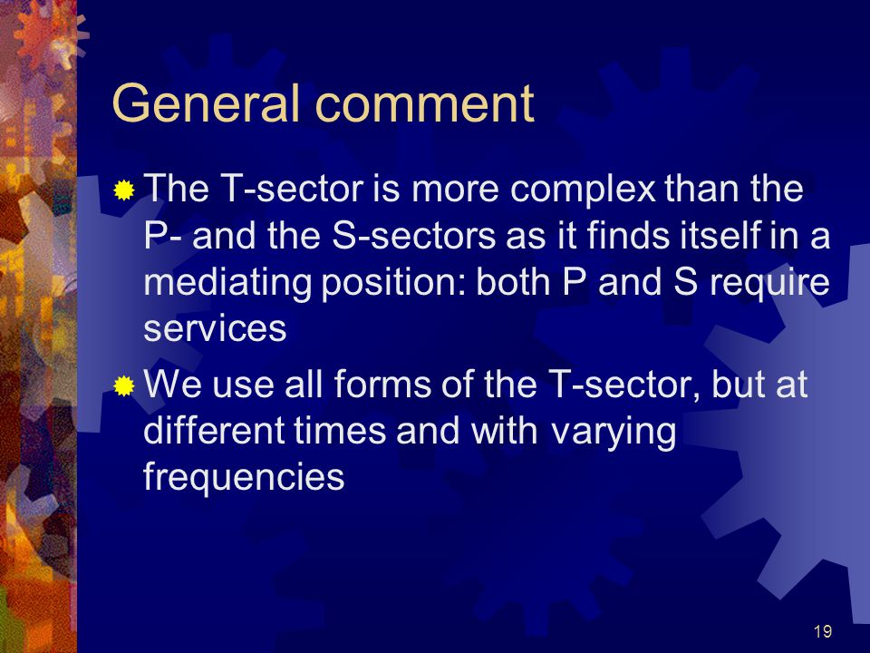 19 General comment  The T-sector is more complex than the P- and the S-sectors as it finds itself in a mediating position: both P and S require services  We use all forms of the T-sector, but at different times and with varying frequencies