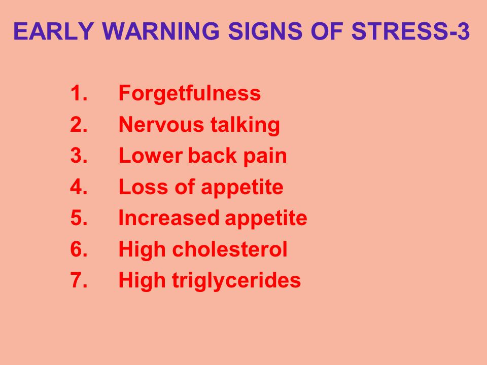 EARLY WARNING SIGNS OF STRESS-3 1.Forgetfulness 2.