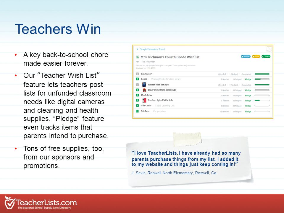 """A key back-to-school chore made easier forever. Our """"Teacher Wish List"""" feature lets teachers post lists for unfunded classroom needs like digital cam"""