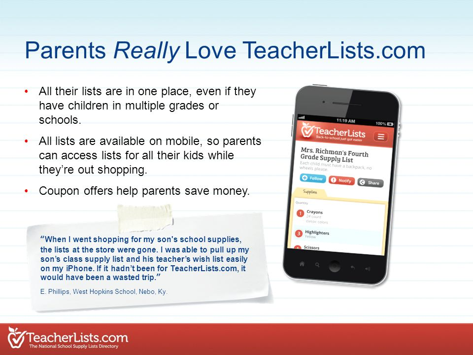 All their lists are in one place, even if they have children in multiple grades or schools.
