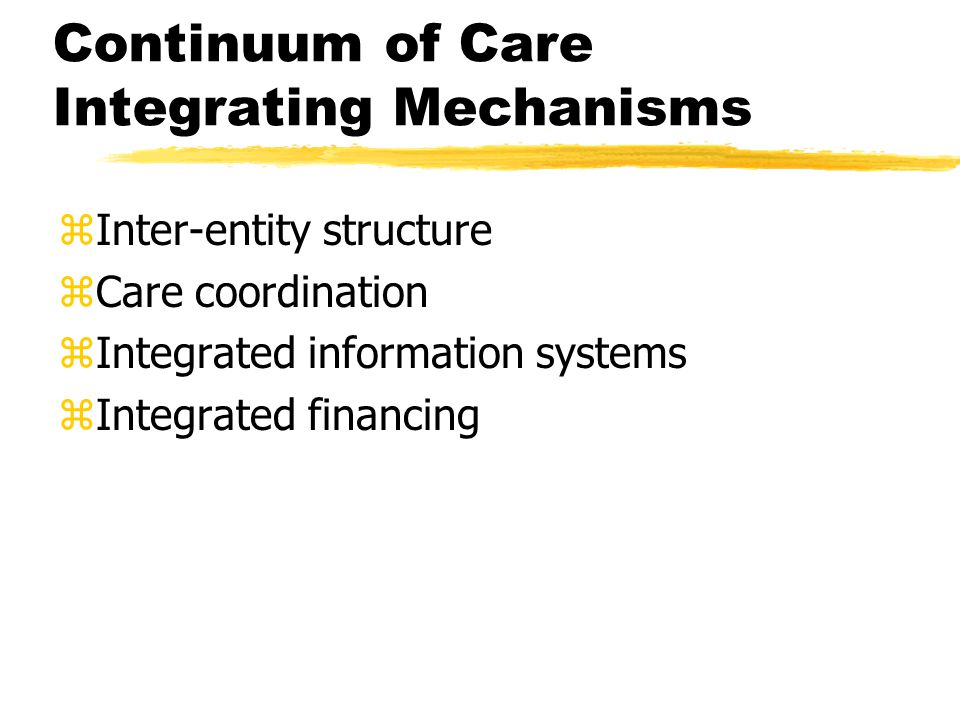zInter-entity structure zCare coordination zIntegrated information systems zIntegrated financing Continuum of Care Integrating Mechanisms