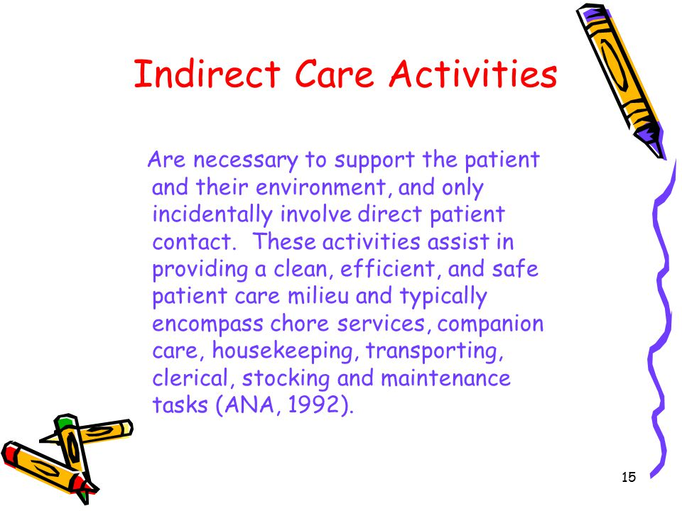 15 Indirect Care Activities Are necessary to support the patient and their environment, and only incidentally involve direct patient contact.