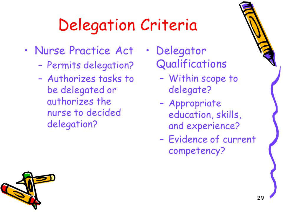 Delegation Criteria Nurse Practice Act –Permits delegation? –Authorizes tasks to be delegated or authorizes the nurse to decided delegation? Delegator