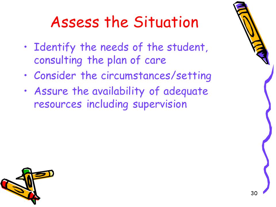 Assess the Situation Identify the needs of the student, consulting the plan of care Consider the circumstances/setting Assure the availability of adequate resources including supervision 30