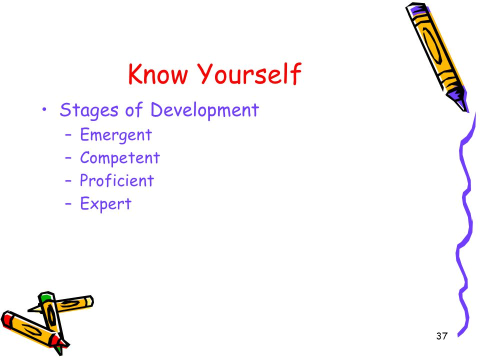 37 Know Yourself Stages of Development –Emergent –Competent –Proficient –Expert