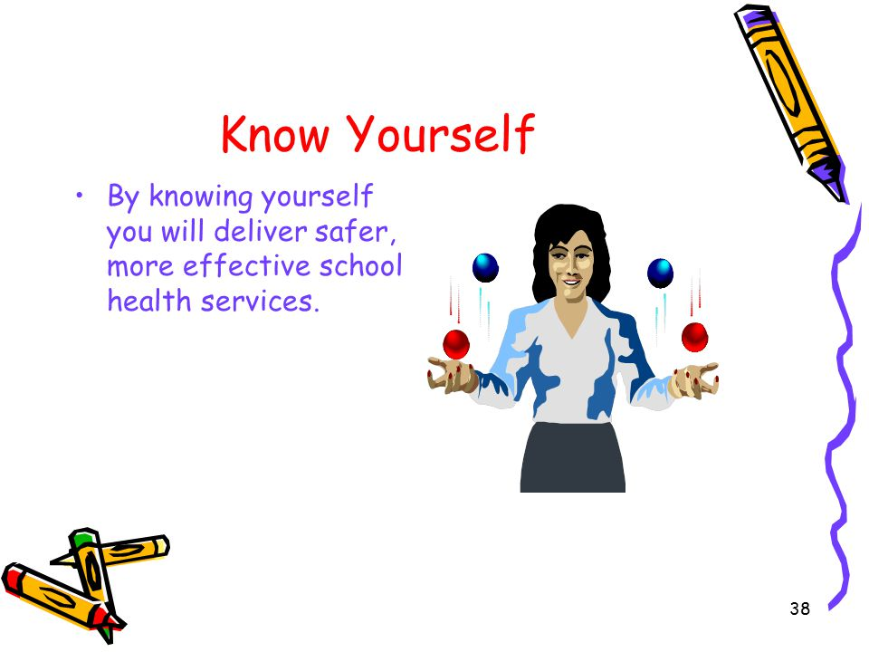 38 Know Yourself By knowing yourself you will deliver safer, more effective school health services.