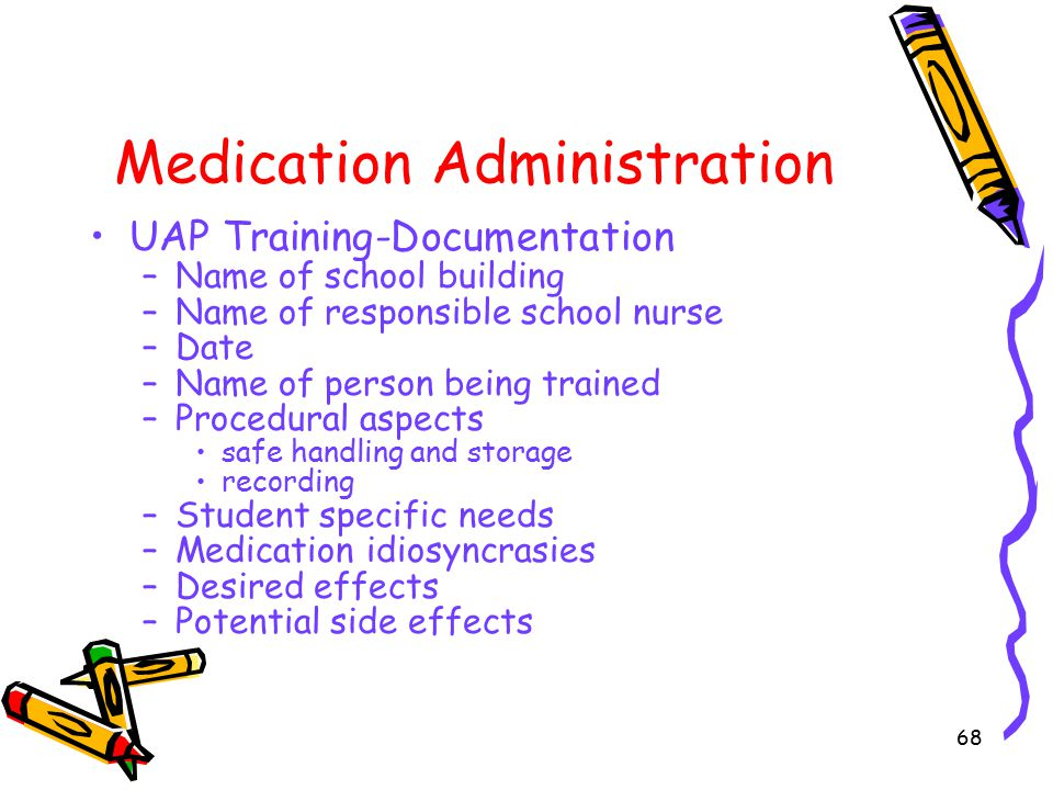 68 Medication Administration UAP Training-Documentation –Name of school building –Name of responsible school nurse –Date –Name of person being trained –Procedural aspects safe handling and storage recording –Student specific needs –Medication idiosyncrasies –Desired effects –Potential side effects