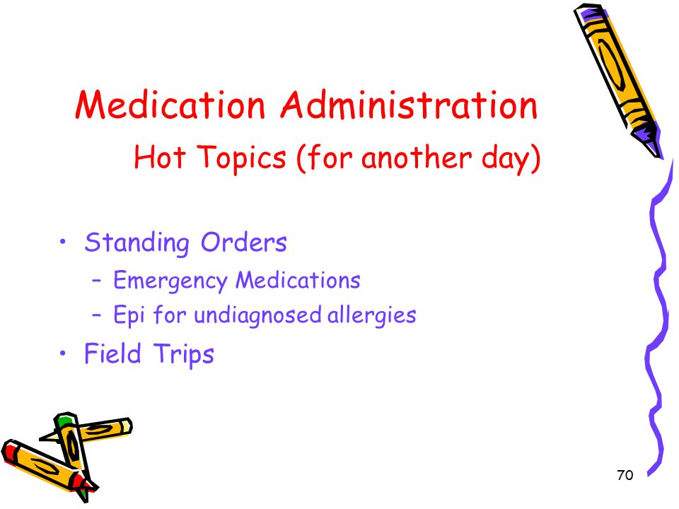 70 Medication Administration Hot Topics (for another day) Standing Orders –Emergency Medications –Epi for undiagnosed allergies Field Trips