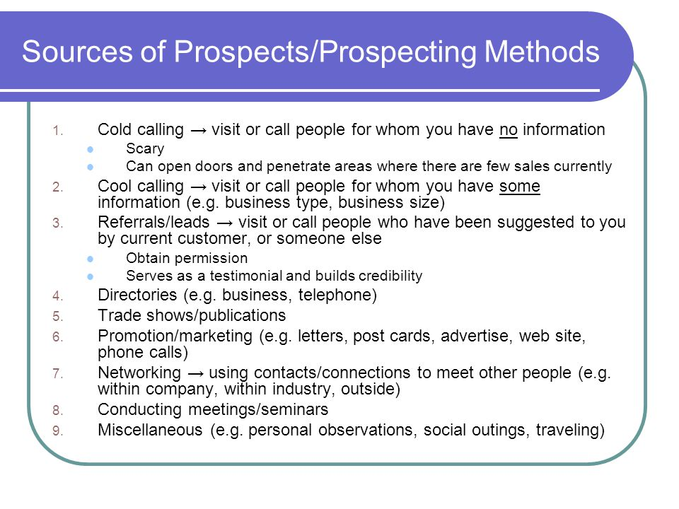 Sources of Prospects/Prospecting Methods 1.
