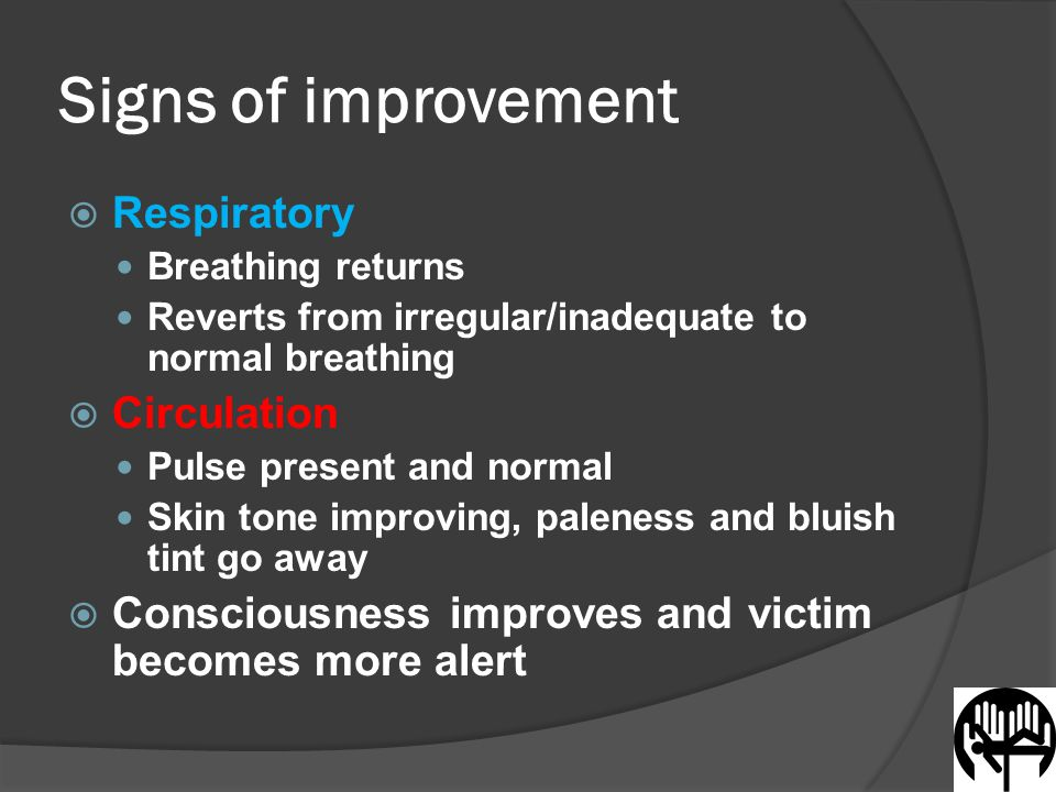 Signs of improvement  Respiratory Breathing returns Reverts from irregular/inadequate to normal breathing  Circulation Pulse present and normal Skin tone improving, paleness and bluish tint go away  Consciousness improves and victim becomes more alert