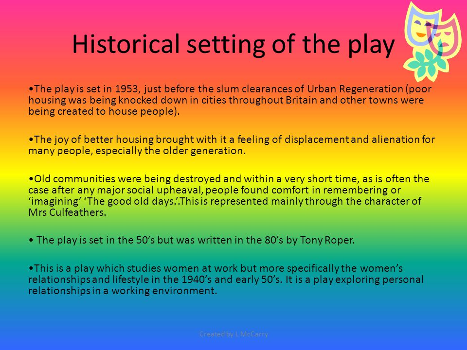 'The Steamie' On the following slides you will find some basic notes to help you to start thinking of creating your own quotes and examples to illustrate the social conditions represented in the play.