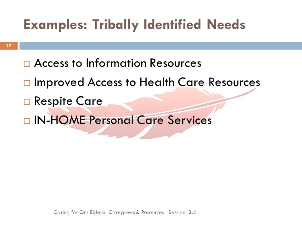 Examples: Tribally Identified Needs Caring for Our Elders: Caregivers & Resources Session 3.4 17  Access to Information Resources  Improved Access to Health Care Resources  Respite Care  IN-HOME Personal Care Services