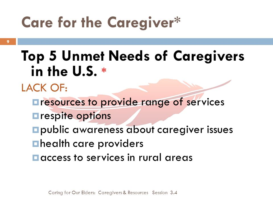 Care for the Caregiver* Caring for Our Elders: Caregivers & Resources Session 3.4 10  Caregivers often have same kinds of difficulties as their elderly family members with:  Transportation  Access to health care services  Housing issues  Financial issues  Family issues