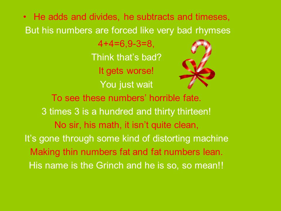 Here's the Problem.Solve 'em. The Grinch lives high on Mt.