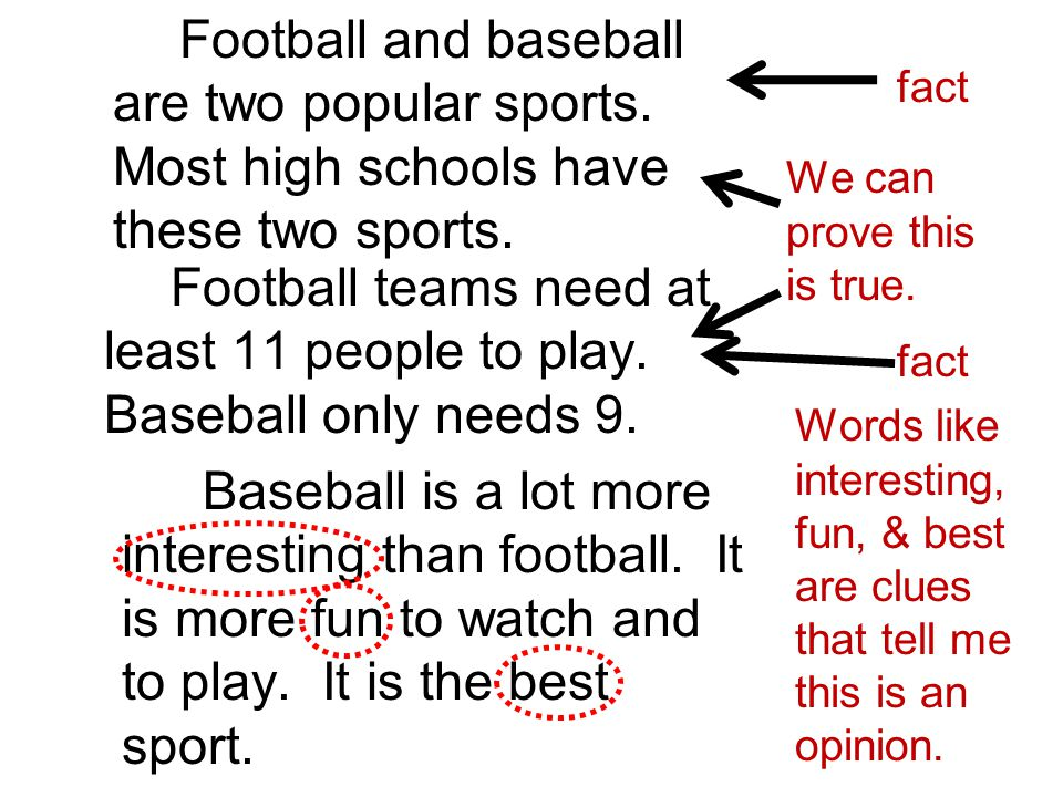 fact Football and baseball are two popular sports. Most high schools have these two sports. Football teams need at least 11 people to play. Baseball o