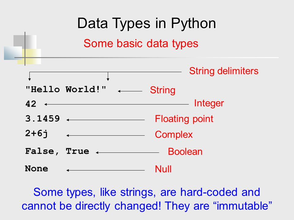 Data Types in Python Some basic data types Hello World! 42 3.1459 2+6j False, True None String Integer Floating point Some types, like strings, are hard-coded and cannot be directly changed.