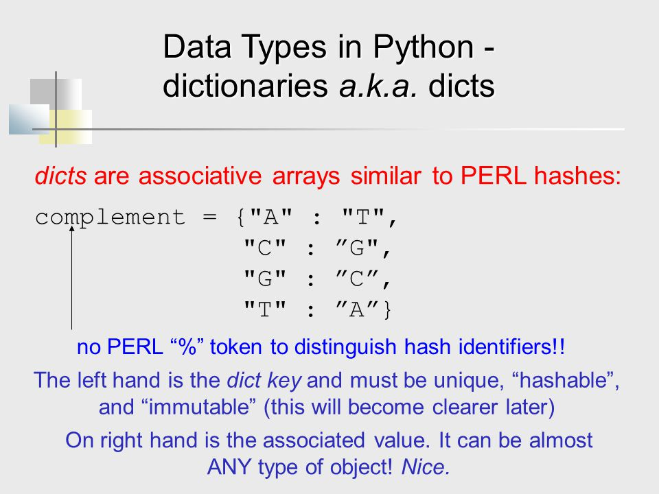 Data Types in Python - dictionaries a.k.a.