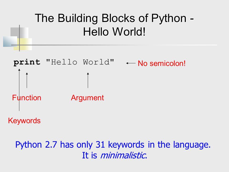 The Building Blocks of Python - Hello World! print