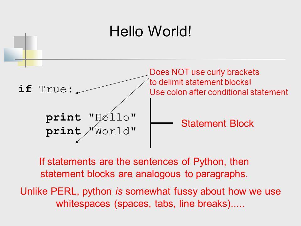 Hello World! if True: print