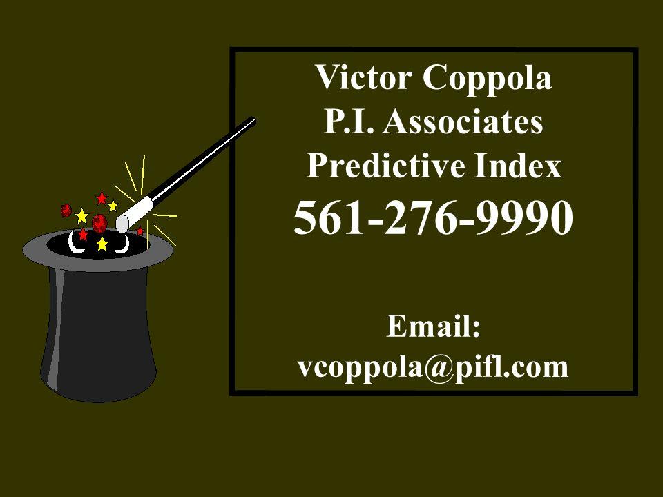 Victor Coppola P.I. Associates Predictive Index 561-276-9990 Email: vcoppola@pifl.com