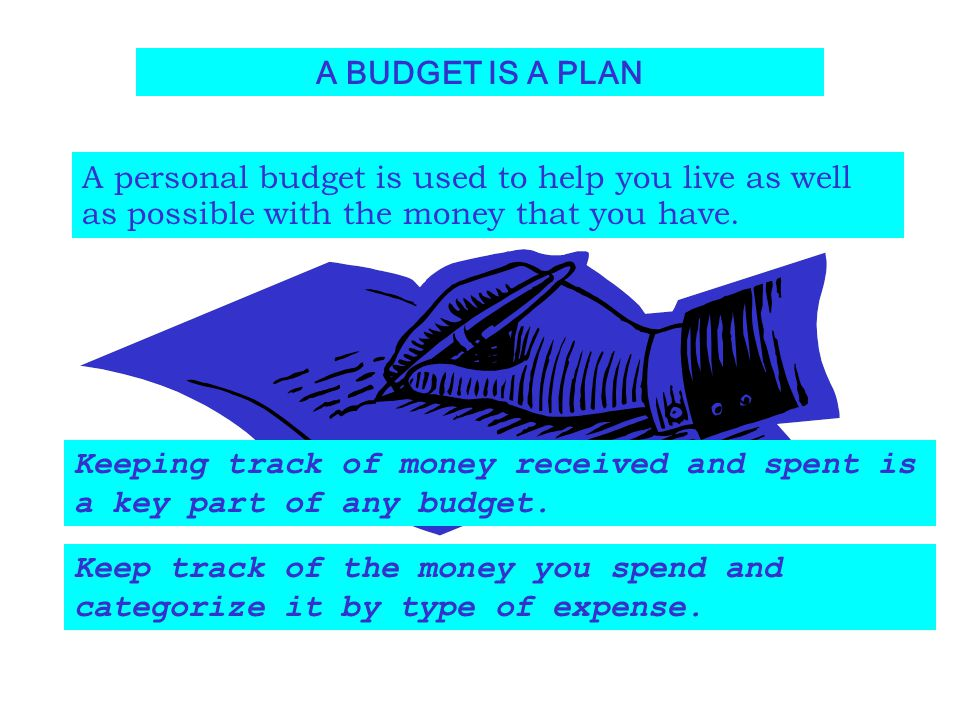 A BUDGET IS A PLAN A personal budget is used to help you live as well as possible with the money that you have. Keeping track of money received and sp