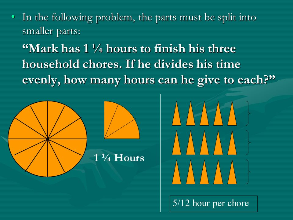 In the following problem, the parts must be split into smaller parts:In the following problem, the parts must be split into smaller parts: Mark has 1 ¼ hours to finish his three household chores.