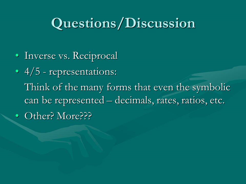 Questions/Discussion Inverse vs. ReciprocalInverse vs.