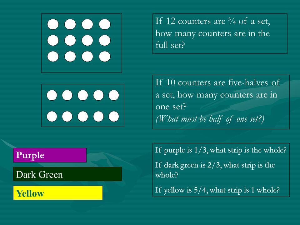 Dark Green Yellow Dark Green Blue If the dark green is the whole, what fraction is the yellow strip.