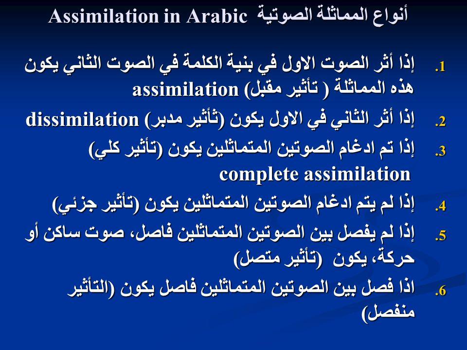 Assimilation in Arabic المماثلة الصوتية أنواع 1.