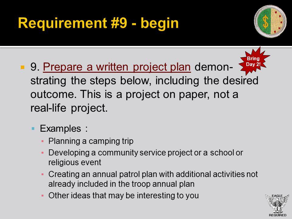 Requirement #9 - begin  9.