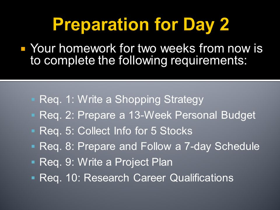 Preparation for Day 2  Your homework for two weeks from now is to complete the following requirements:  Req.