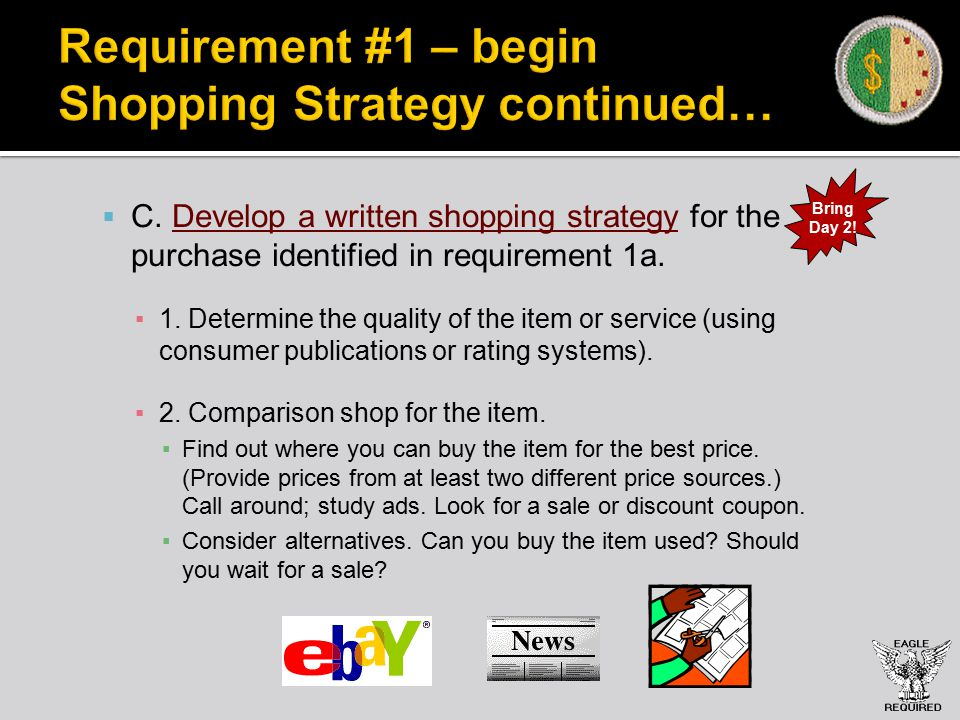 Requirement #1 – begin Shopping Strategy continued…  C.